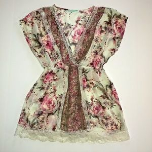 Maurices Tops - Maurices Sheer Floral Lace Top Size Small